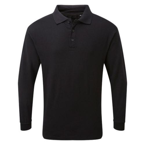 HAZTEC® Boscan Flame Resistant Anti-Static Inherent Long Sleeve Poloshirt Black Front