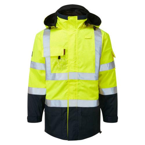 HAZTEC® Boulton Two Tone Flame Resistant Anti-Static Waterproof Traffic Jacket Yellow Navy Front
