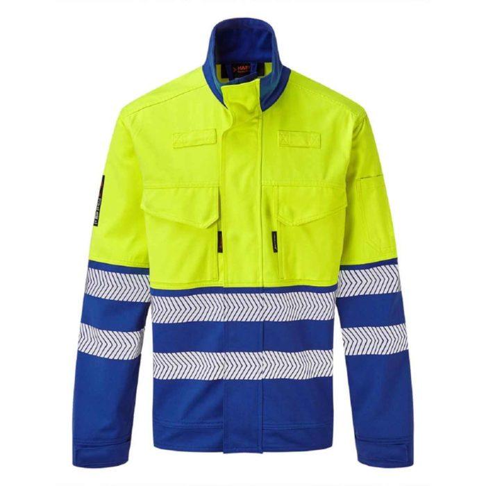 HAZTEC® Dulang Flame Resistant Anti-Static Hi-Vis Jacket Yellow Royal Front