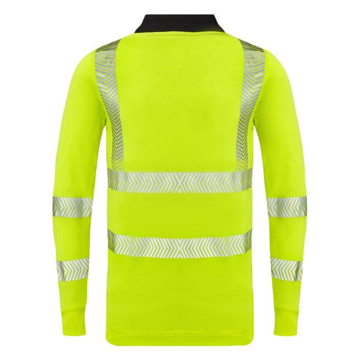 HAZTEC® Flame Resistant Anti-Static Long Sleeved Hi Vis Inherent Poloshirt Yellow Back