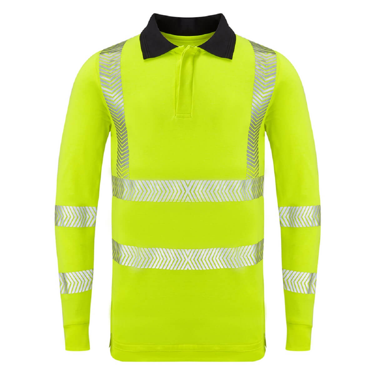 HAZTEC® Flame Resistant Anti-Static Long Sleeved Hi Vis Inherent Poloshirt Yellow Front