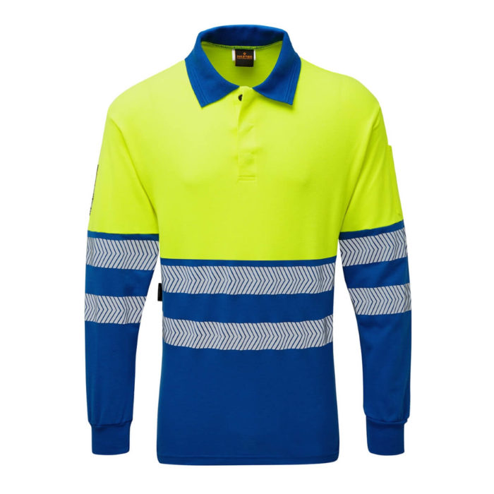 HAZTEC® Flame Resistant Anti-Static Two Tone Hi-Vis Polo Shirt Royal Yellow Front