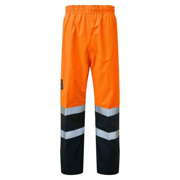 HAZTEC® Flotta Flame Resistant Anti-Static Waterproof Overtrousers Orange Navy Front