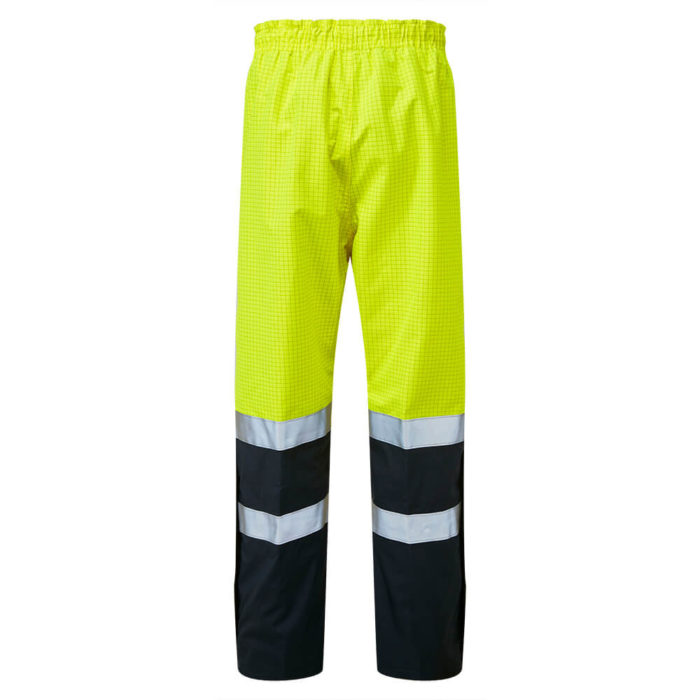 HAZTEC® Flotta Flame Resistant Anti-Static Waterproof Overtrousers Yellow Navy Back