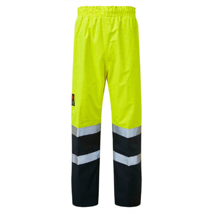 HAZTEC® Flotta Flame Resistant Anti-Static Waterproof Overtrousers Yellow Navy Front