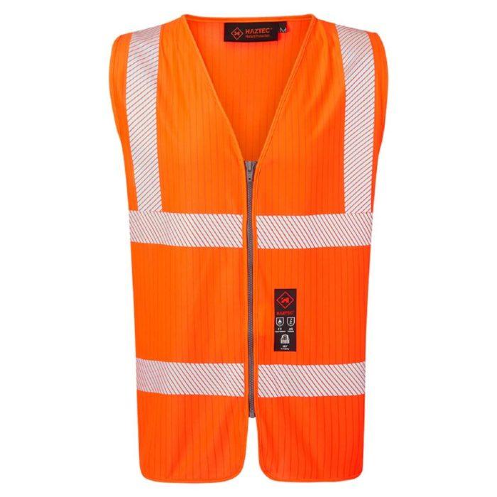 HAZTEC® Lavan Flame Retardant Anti-Static Hi-Visibility Waistcoat Orange Front