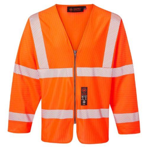 HAZTEC® Loreto Flame Resistant Anti-Static Long Sleeved Hi-Vis Waistcoat Orange Front