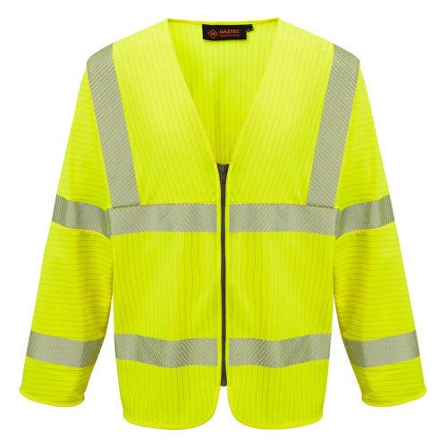 HAZTEC® Loreto Flame Resistant Anti-Static Long Sleeved Hi-Vis Waistcoat Yellow Front
